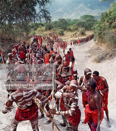 Africa,Kenya,Kajiado District,Ol doinyo Orok. A large gathering of Maasai warriors daub themselves with white clay during an Eunoto ceremony when the warriors become junior elders and thenceforth are permitted to marry. Stock Photo - Rights-Managed, Image code: 862-03366853