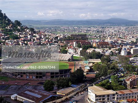 Antananarivo,the capital city of Madagascar and home to about 3 million people. The sprawling city is built on two ridges with the ruins of the Queen's Palace dominating the largest hill.