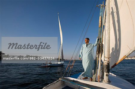 Feluccas sailing on the Nile at Luxor,Egypt Stock Photo - Rights-Managed, Image code: 862-03437024