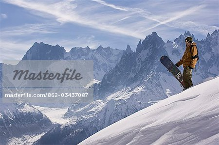 A snowboarder at La Flegere,Chamonix Stock Photo - Rights-Managed, Image code: 862-03437087