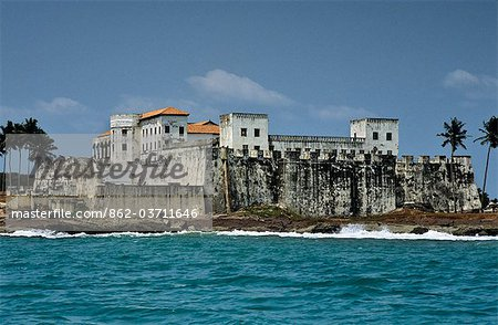 Ghana,Central region,Elmina. Elmina Castle,aka St George's Slave Fort - the oldest European building south of the Sahara. Scene of horrors and degradation. Stock Photo - Rights-Managed, Image code: 862-03711646