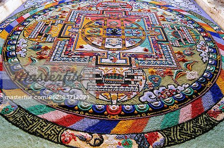 Detail of a Mandala. 'Mandala'  from the Indian language of Sanskrit meaning 'circle'. Diskit, Nubra Valley, Ladakh, India Stock Photo - Rights-Managed, Image code: 862-03712079