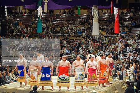 Grand Taikai Sumo Wrestling Tournament Dohyo ring entering ceremony of top ranked wrestlers Stock Photo - Rights-Managed, Image code: 862-03712505