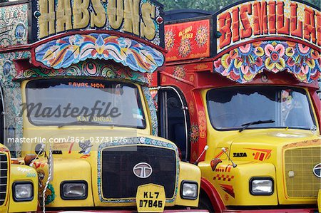 India, South India, Kerala. Painted trucks parked in Cochin. Stock Photo - Rights-Managed, Image code: 862-03731376
