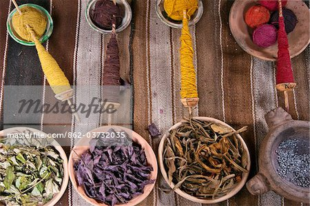 Peru. The raw materials traditionally used by Peruvian Indians to dye wool in subtle colours. Stock Photo - Rights-Managed, Image code: 862-03732035