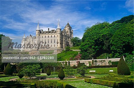 Dunrobin Castle, Golspie, Scotland. It dates  in part from the early 1300s. Stock Photo - Rights-Managed, Image code: 862-03732280
