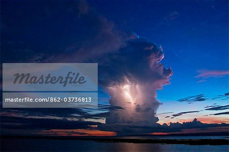 Kenya, Nyanza District. A violent evening storm with forked lightning over Lake Victoria . Stock Photo - Rights-Managed, Image code: 862-03736813