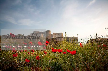 Syria, Crac des Chevaliers. This medieval castle, built by the crusaders, was built to withstand siege for 5 years. Stock Photo - Rights-Managed, Image code: 862-03737213