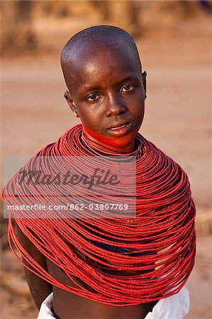 Kenya, Samburu District.  Young Samburu girl in traditional beaded necklaces. Stock Photo - Rights-Managed, Image code: 862-03807769