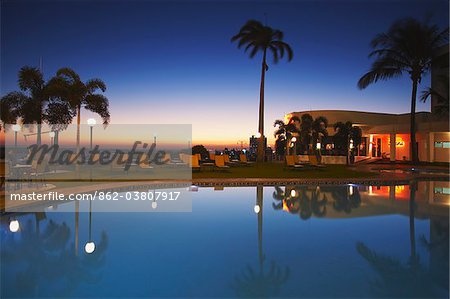Pool at Hotel Cardoso at sunset, Maputo, Mozambique Stock Photo - Rights-Managed, Image code: 862-03807917