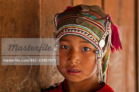 Myanmar, Burma, Kengtung (Kyaing Tong). Young Akha girl, in a hill village near Kengtung. Stock Photo - Rights-Managed, Image code: 862-03807979