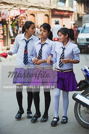 Asia, Nepal, Kathmandu, High School girls in uniform Stock Photo - Rights-Managed, Image code: 862-03808054