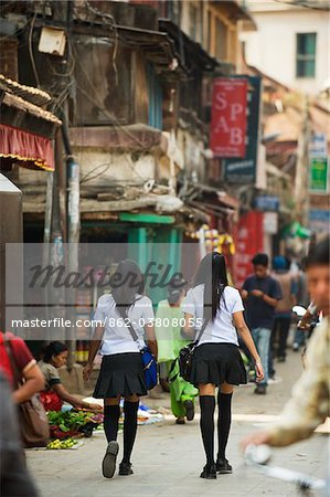 Asia, Nepal, Kathmandu, High School girls in uniform Stock Photo - Rights-Managed, Image code: 862-03808055