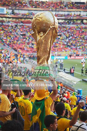 Brazilian football fans at World Cup match, Port Elizabeth, Eastern Cape, South Africa Stock Photo - Rights-Managed, Image code: 862-03808406