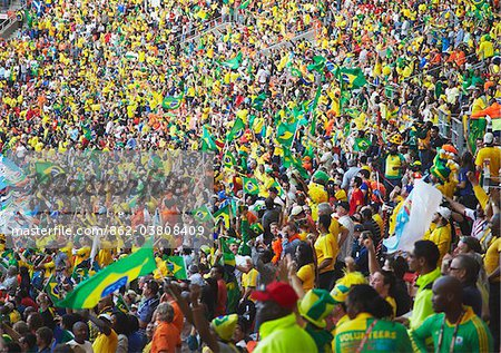 Football fans celebrating at World Cup match, Port Elizabeth, Eastern Cape, South Africa Stock Photo - Rights-Managed, Image code: 862-03808409