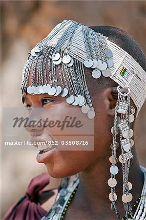 A Maasai girl from the Kisongo clan wearing an attractive beaded headband. Stock Photo - Rights-Managed, Image code: 862-03808716