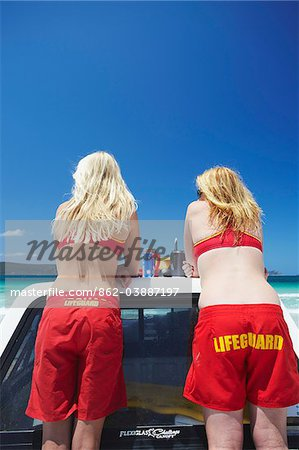Lifeguards on Middleton Beach, Albany, Western Australia, Australia Stock Photo - Rights-Managed, Image code: 862-03887197