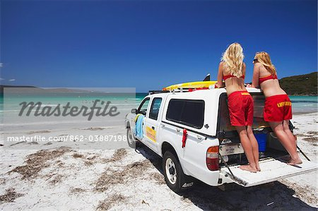 Lifeguards on Middleton Beach, Albany, Western Australia, Australia Stock Photo - Rights-Managed, Image code: 862-03887198