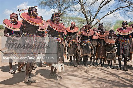 Pokot women and girls dancing to celebrate an Atelo ceremony. The Pokot are pastoralists speaking a Southern Nilotic language. Stock Photo - Rights-Managed, Image code: 862-03888695