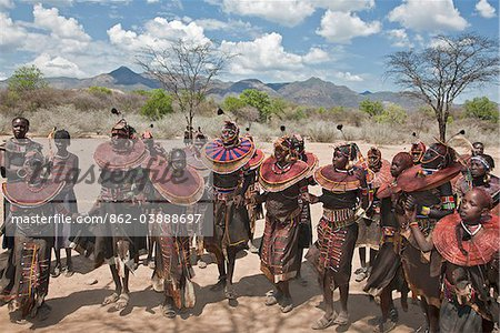 Pokot women and girls dancing to celebrate an Atelo ceremony. The Pokot are pastoralists speaking a Southern Nilotic language. Stock Photo - Rights-Managed, Image code: 862-03888697