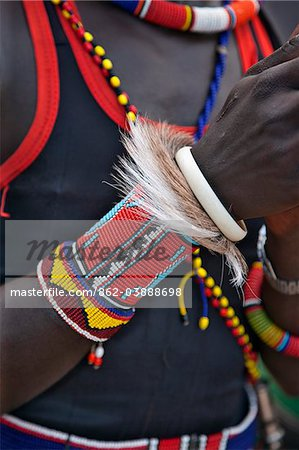 The ornaments of a Pokot warrior including a ring of goat skin which would have been slaughtered for a ceremony. The Pokot are pastoralists speaking a Southern Nilotic language. Stock Photo - Rights-Managed, Image code: 862-03888698