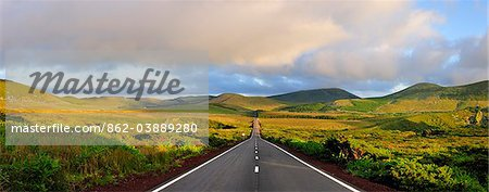 An empty and solitary road . Flores, Azores islands, Portugal Stock Photo - Rights-Managed, Image code: 862-03889280