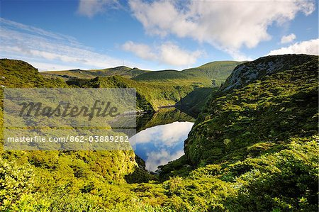 Crater lake, Caldeira Comprida. Flores, Azores islands, Portugal Stock Photo - Rights-Managed, Image code: 862-03889282