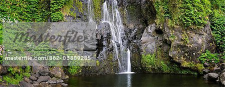 A waterfall at Faja Grande. Poco do Bacalhau. Flores, Azores islands, Portugal Stock Photo - Rights-Managed, Image code: 862-03889285