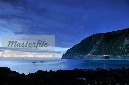 The little village of Faja Grande at night. The westernmost location in Europe. Flores, Azores islands, Portugal Stock Photo - Rights-Managed, Image code: 862-03889286