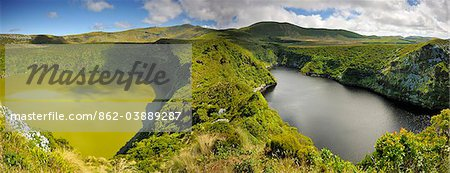 Crater lakes, Caldeira Comprida & Caldeira Funda. Flores, Azores islands, Portugal Stock Photo - Rights-Managed, Image code: 862-03889287