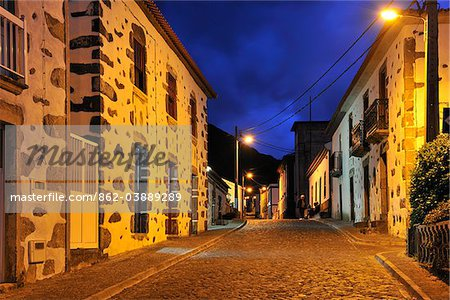 The little village of Faja Grande at night. The westernmost location in Europe. Flores, Azores islands, Portugal Stock Photo - Rights-Managed, Image code: 862-03889289