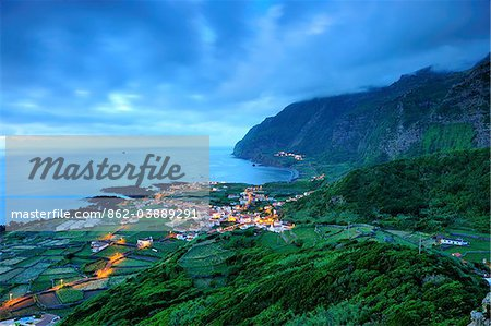 The little village of Faja Grande at night. The westernmost location in Europe. Flores, Azores islands, Portugal Stock Photo - Rights-Managed, Image code: 862-03889291
