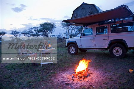 Tanzania, Serengeti. Rough camping in one of the designated 'special campsites' (Sero 1 extra). Stock Photo - Rights-Managed, Image code: 862-03890052