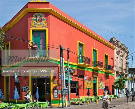 An old building, now a restaurant, at La Boca, which is famed for its brightly coloured building. Stock Photo - Rights-Managed, Image code: 862-05996672