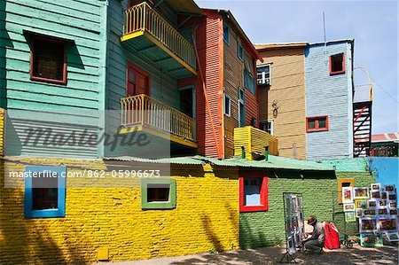 Brightly-coloured old wooden buildings at La Boca. Stock Photo - Rights-Managed, Image code: 862-05996673