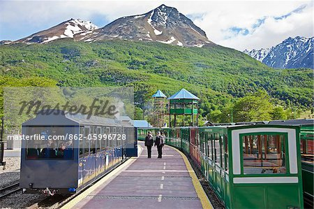 The Southern Fuegian Railway (The end of the world train) is the southernmost railway in the world. Now used for tourism, it was originally built by prisoners from Ushuaia s penal colony. Stock Photo - Rights-Managed, Image code: 862-05996728