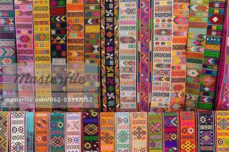 Bhutanese fabric belts hanging up in a shop in Thimphu. Stock Photo - Rights-Managed, Image code: 862-05997052