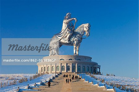 Mongolia, Tov Province, Tsonjin Boldog. A 40m tall statue of Genghis Khan on horseback stands on top of The Genghis Khan Statue Complex and Museum. Stock Photo - Rights-Managed, Image code: 862-05998617