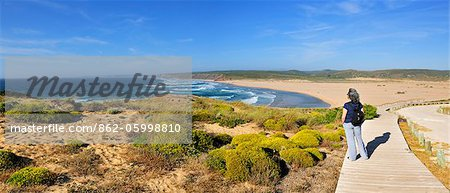 The flora and the vastness of the coastline in the Sudoeste Alentejano and Costa Vicentina Natural Park. Algarve, Portugal Stock Photo - Rights-Managed, Image code: 862-05998810