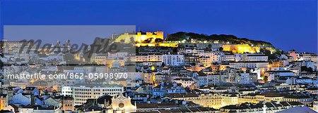 The historical centre and the Sao Jorge castle at dusk. Lisbon, Portugal Stock Photo - Rights-Managed, Image code: 862-05998970