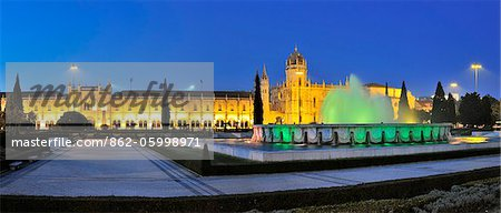 Jeronimos monastery, a Unesco World Heritage Site, at twilight. Lisbon, Portugal Stock Photo - Rights-Managed, Image code: 862-05998971