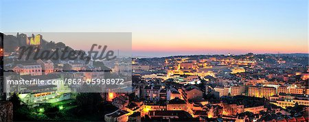 The historical center of Lisbon at twilight. Portugal Stock Photo - Rights-Managed, Image code: 862-05998972