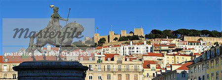The historical centre and the Sao Jorge castle, with King Dom Joao I equestrian statue. Lisbon, Portugal Stock Photo - Rights-Managed, Image code: 862-05998985
