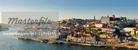 Oporto. Ribeira, a Unesco World Heritage Site at dusk. Portugal Stock Photo - Rights-Managed, Image code: 862-05998994