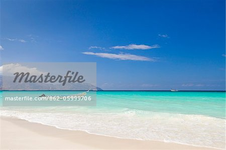 Yemen, Socotra, Sha'ab. A boat moored in the sea at Sha'ab. Stock Photo - Rights-Managed, Image code: 862-05999706