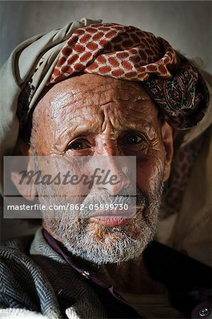 Yemen, Sana'a Province, Haraz Mountains, Al Hajjarah. Portrait of an old man. Stock Photo - Rights-Managed, Image code: 862-05999730