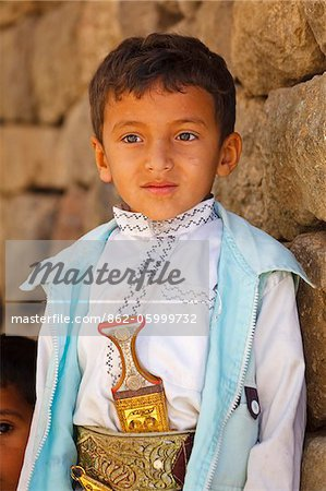 Yemen, Sana'a Province, Haraz Mountains, Jebel Shugruf. A young boy in traditional clothing. Stock Photo - Rights-Managed, Image code: 862-05999732