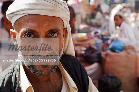 Yemen, Al Hudaydah, Bait Al Faqhi. A man at the Friday market. Stock Photo - Rights-Managed, Image code: 862-05999736