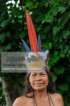 Indian woman with head dress, Ticuna Indian Village of Macedonia, Amazon River, near Puerto Narino, Colombia Stock Photo - Rights-Managed, Image code: 862-06541041