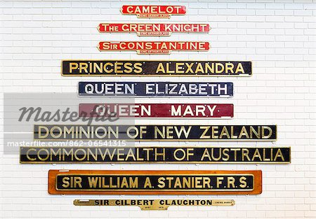 United Kingdom, England, North Yorkshire, York. Nameplates at the National Railway Museum. Stock Photo - Rights-Managed, Image code: 862-06541315